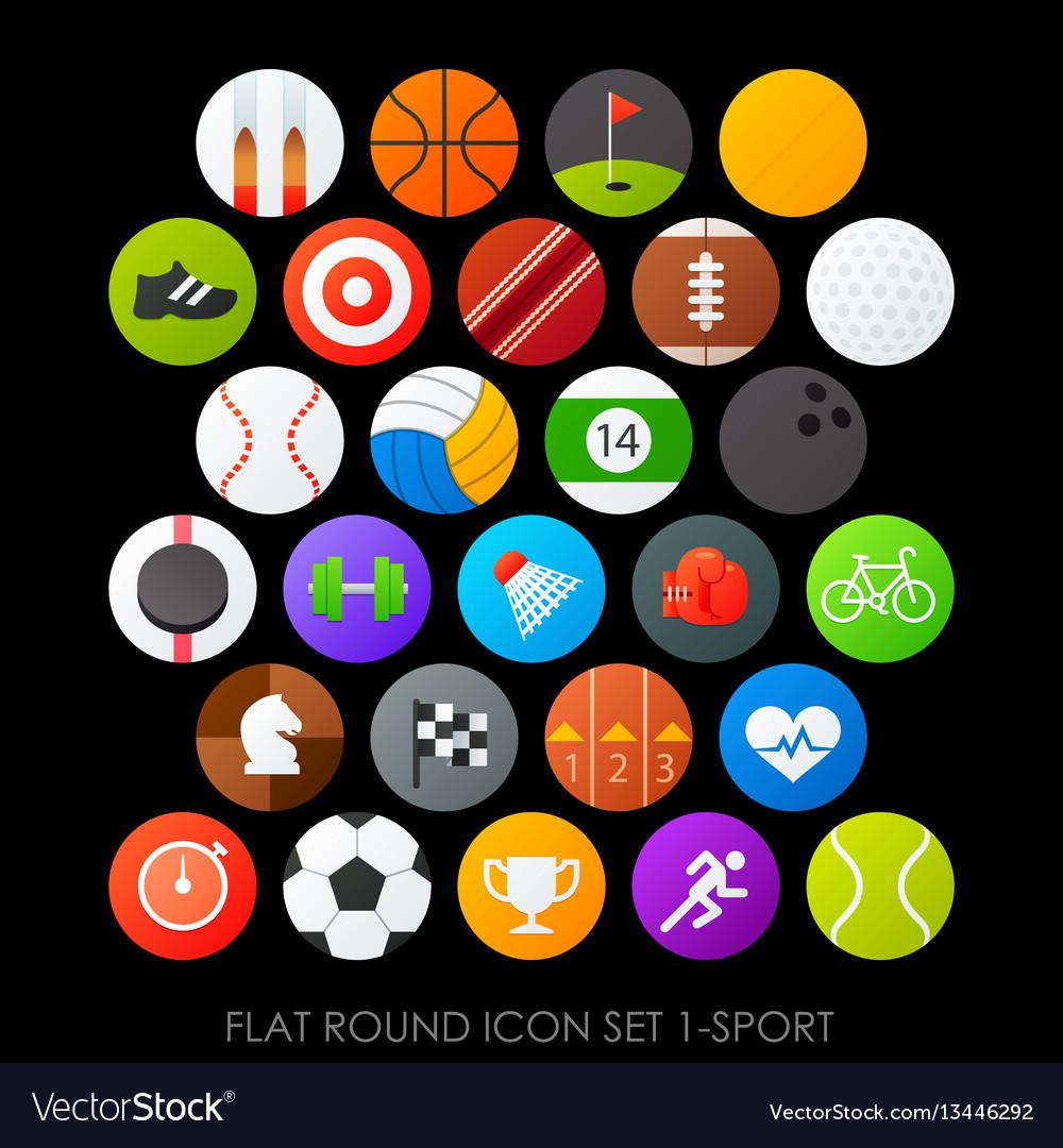 Flat round icon set 1-sport