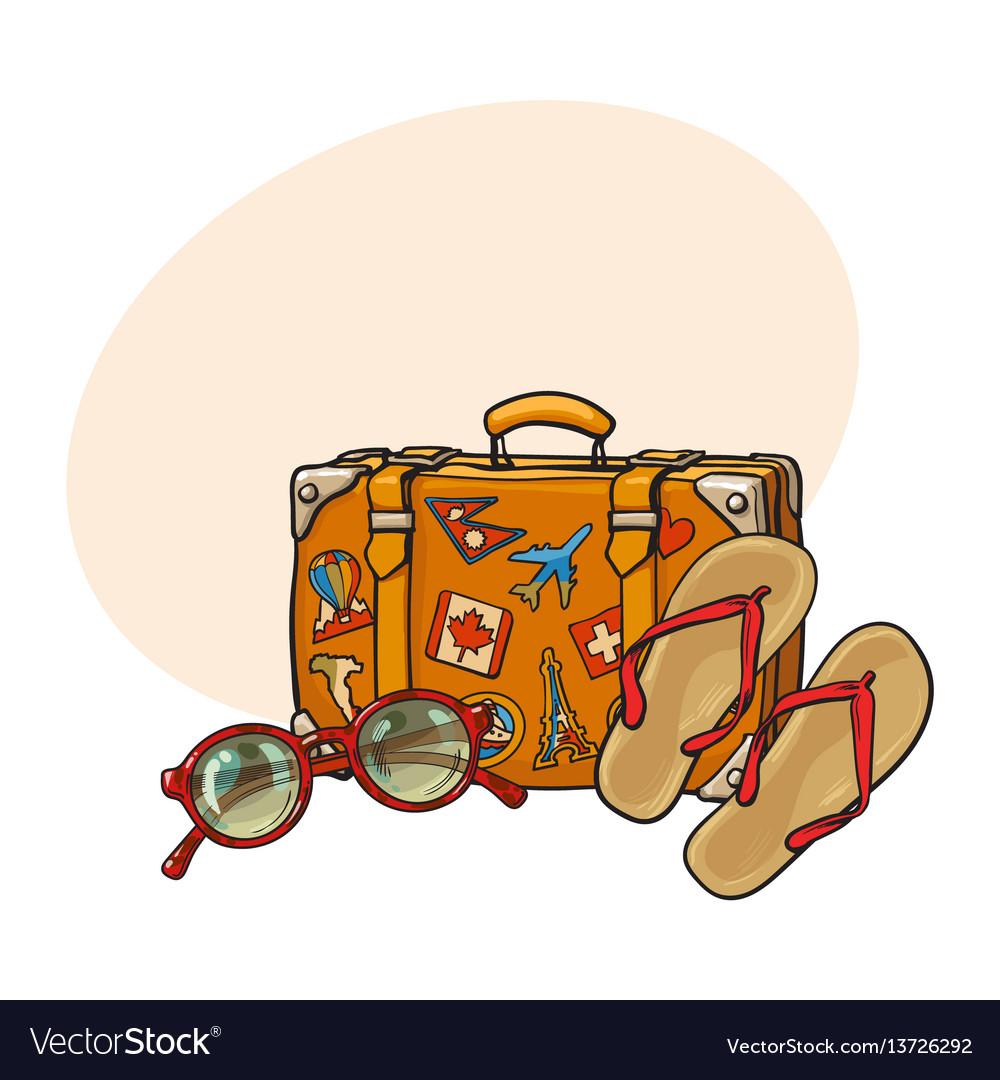 Flip flops sunglasses suitcase with tourist vector image