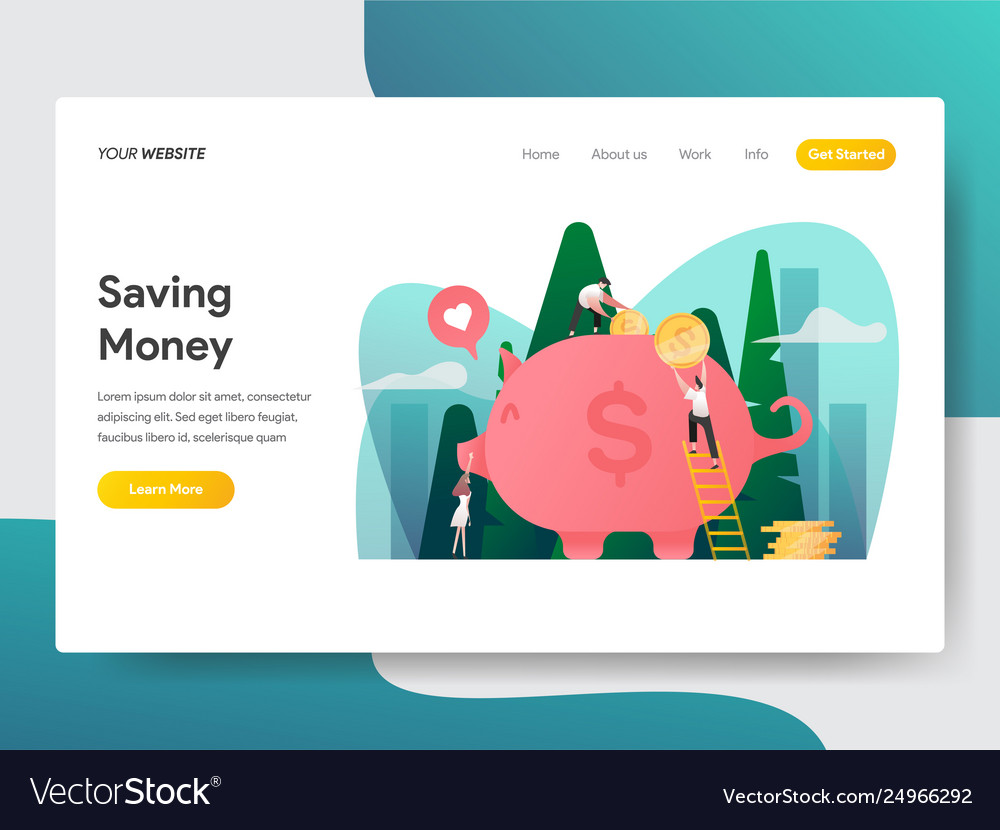 Landing page template saving money and piggy