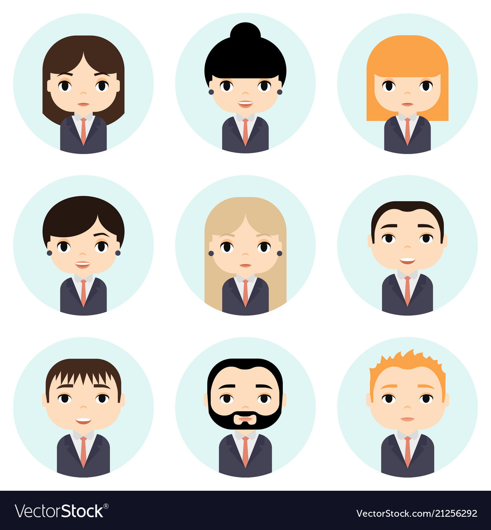 Man and woman avatars set with smiling faces