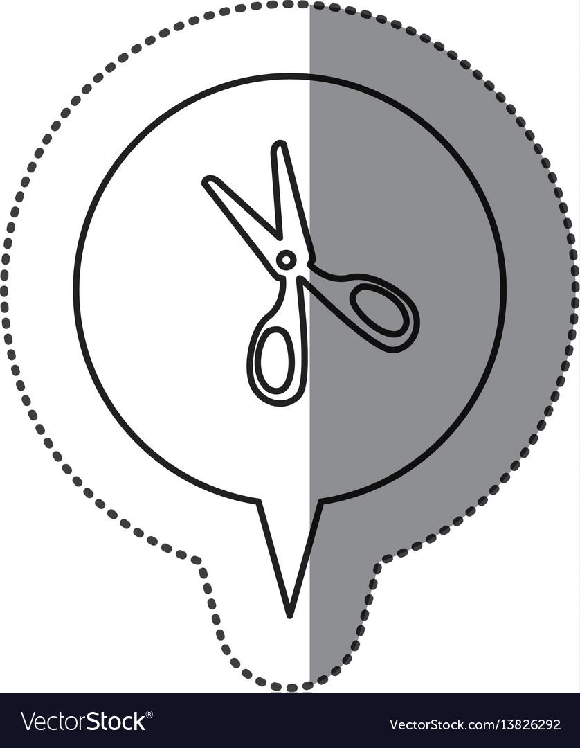 Monochrome contour sticker with scissors icon in