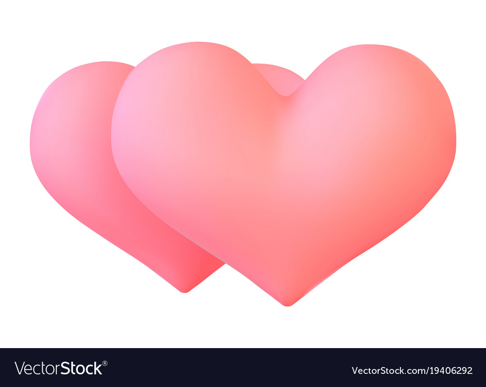 Realistic pink valentine heart in 3d style vector image
