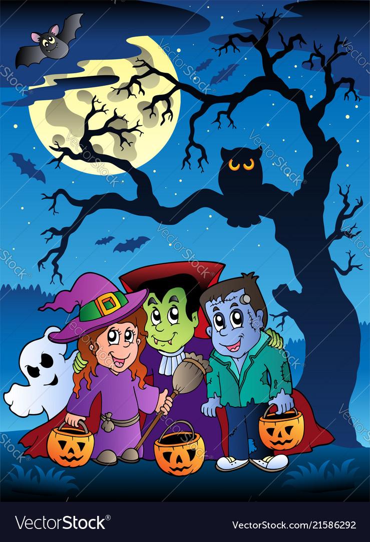 Scene with halloween tree 3