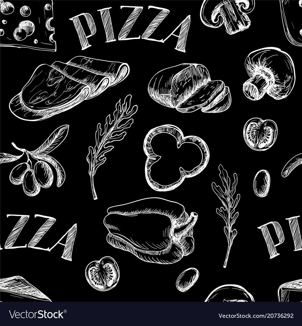 Seamless pattern with ingredients for pizza