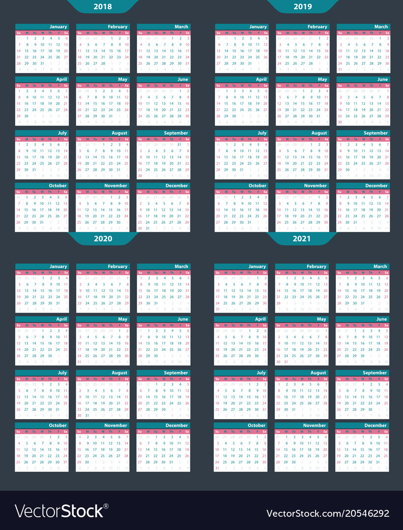 Set of calendar template 2018-2020