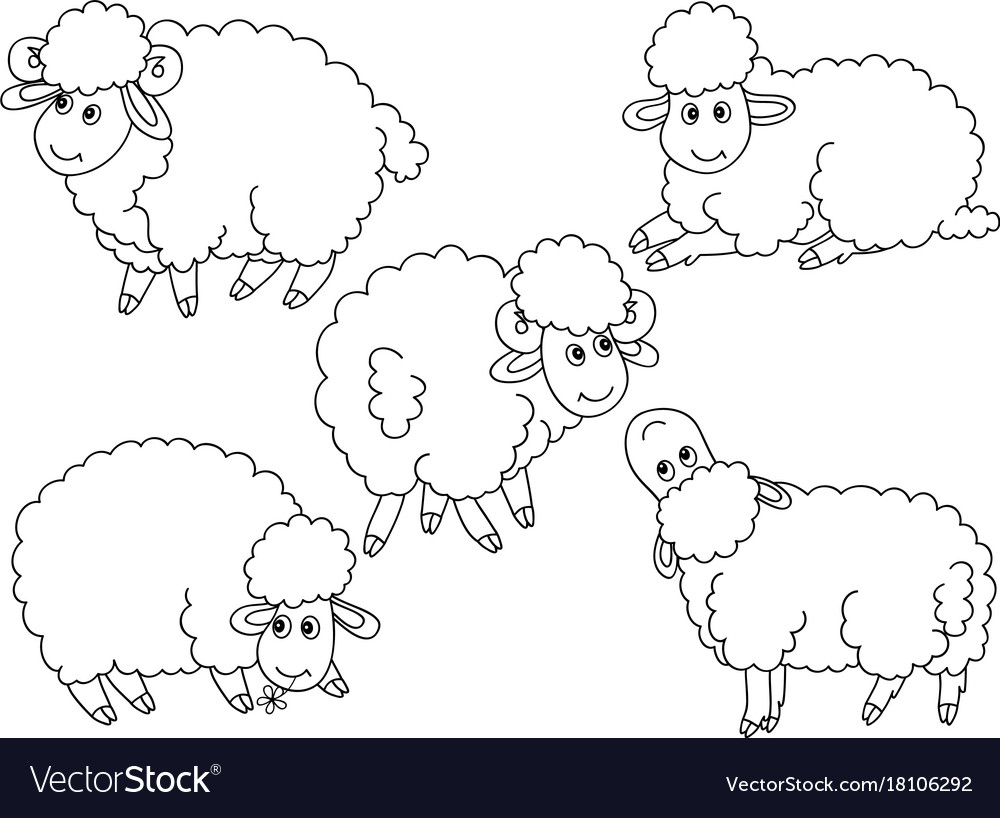Set of cute cartoon sheep