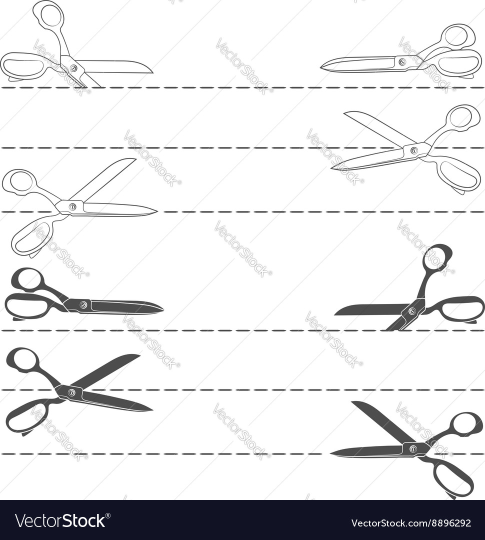 Set with line cutting with scissors