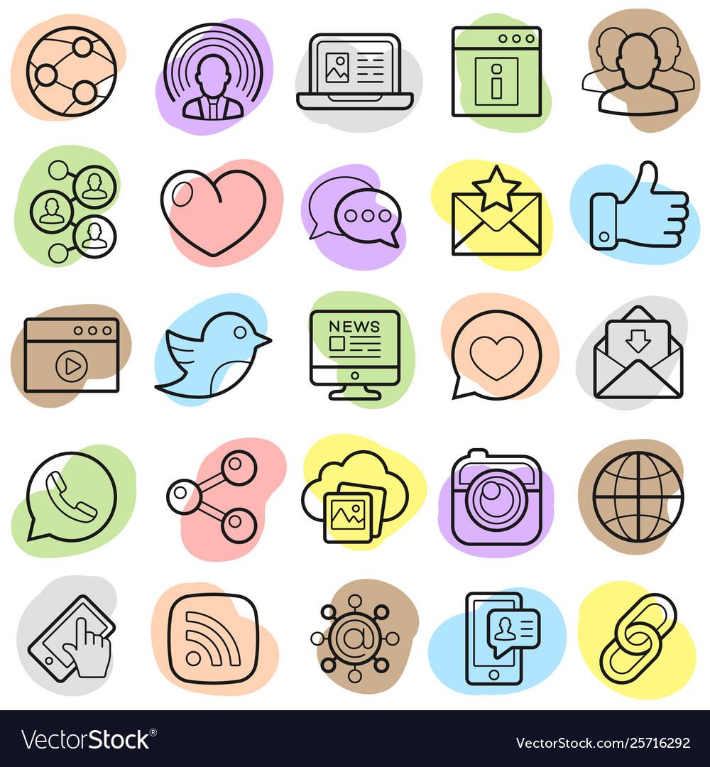Social network trendy icons set