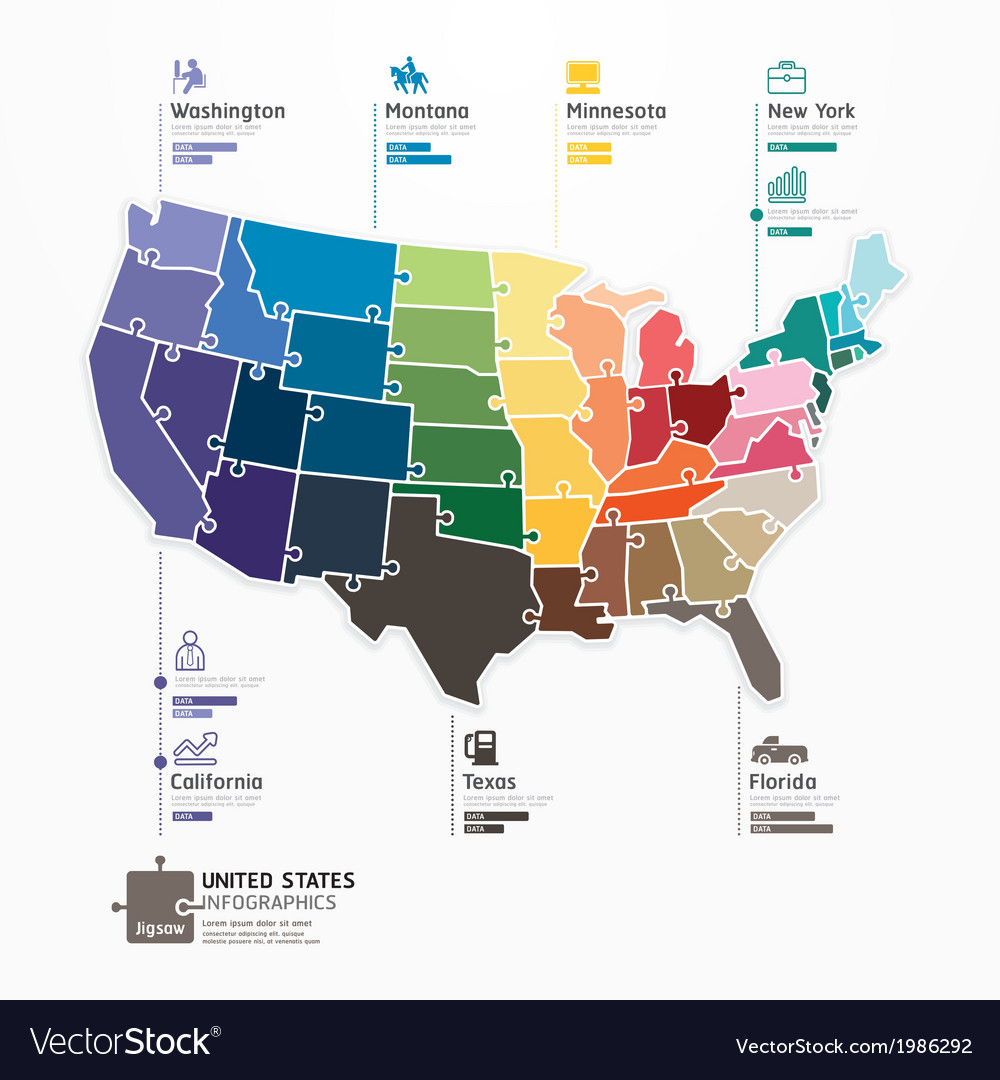 United States Map Infographic Template Jigsaw Conc