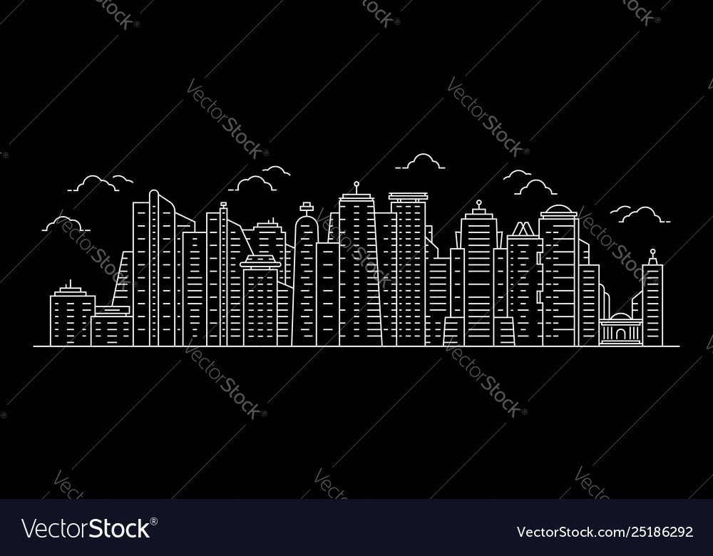 White cityscape with thin line skyscrapers