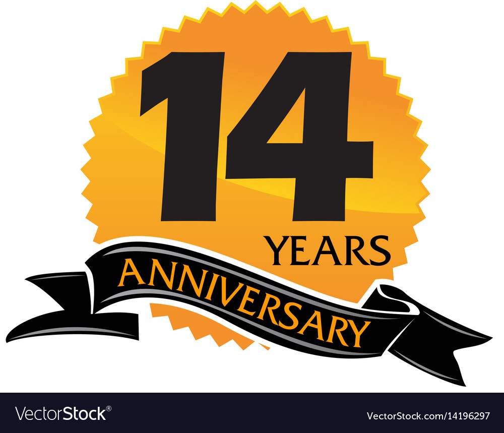 14 Years Ribbon Anniversary Royalty Free Vector Image