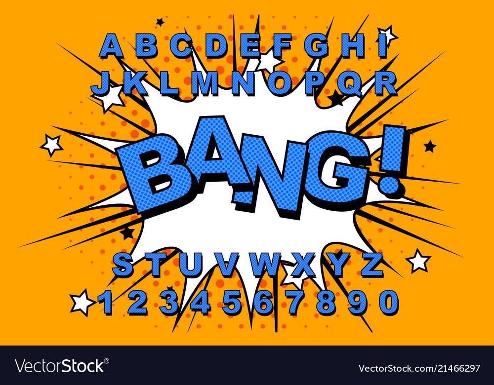 Alphabet comic retro
