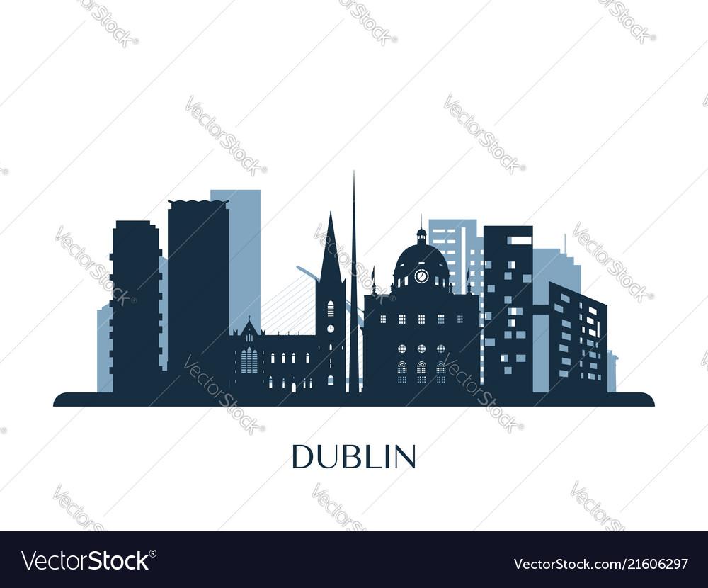 Dublin skyline monochrome silhouette