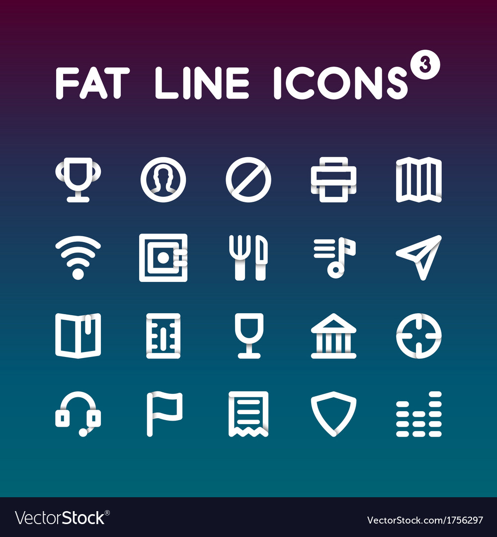 Fat Line Icons set 3