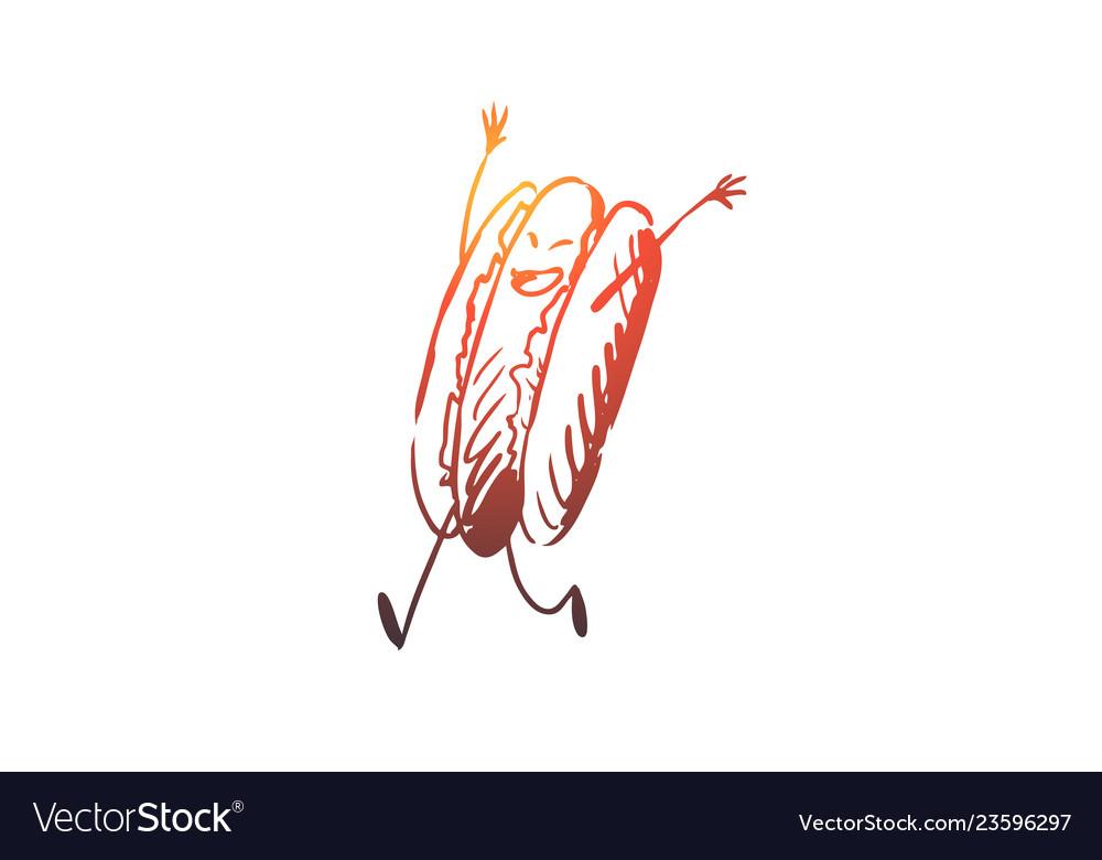 Hot dog food sausage bun tasty concept hand