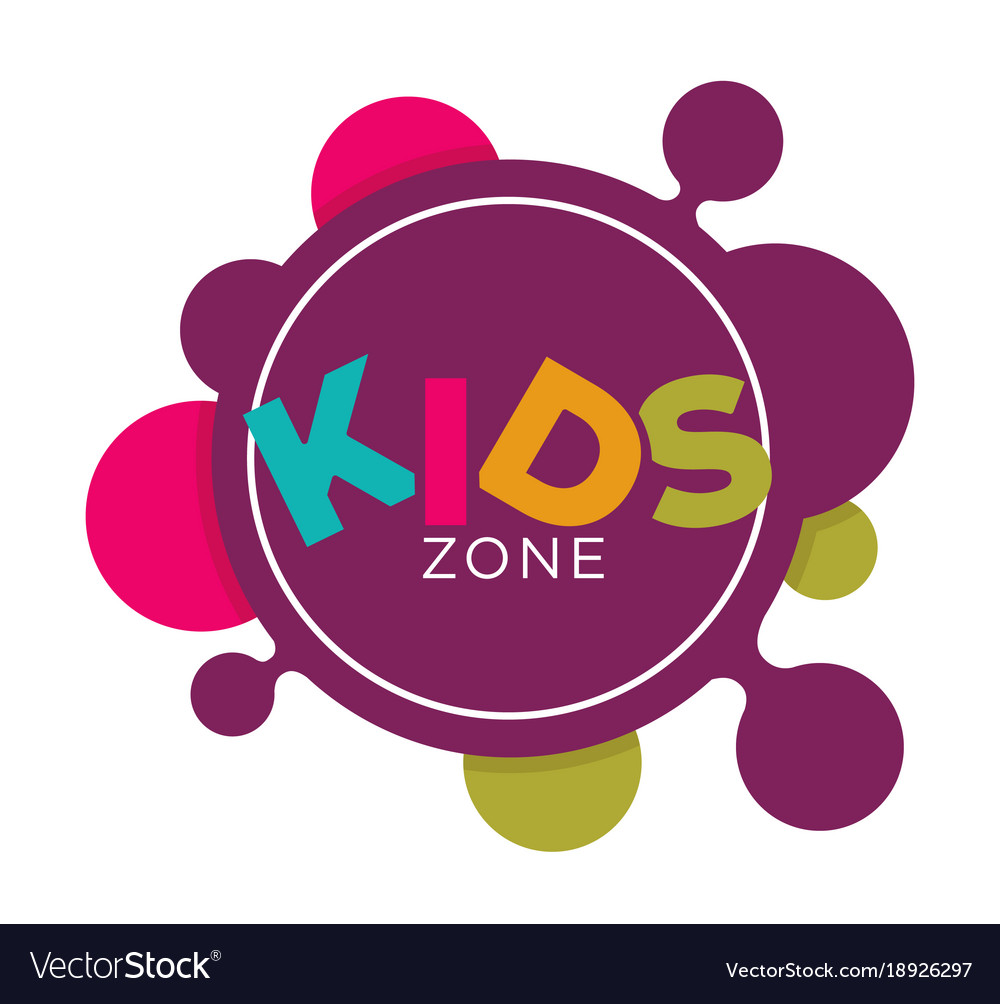 Kids zone logo template of child palm hands and