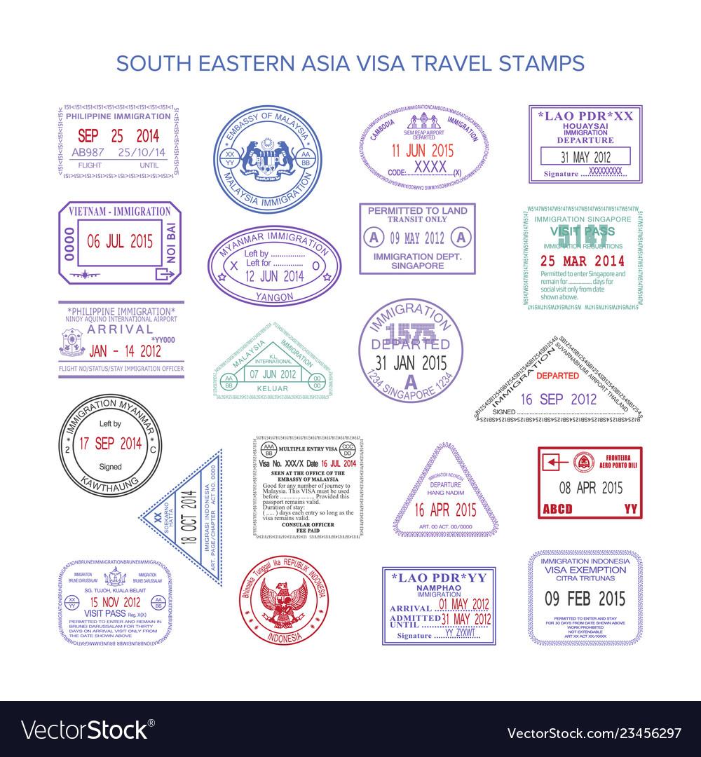 western europe color travel visa stamps set vector image