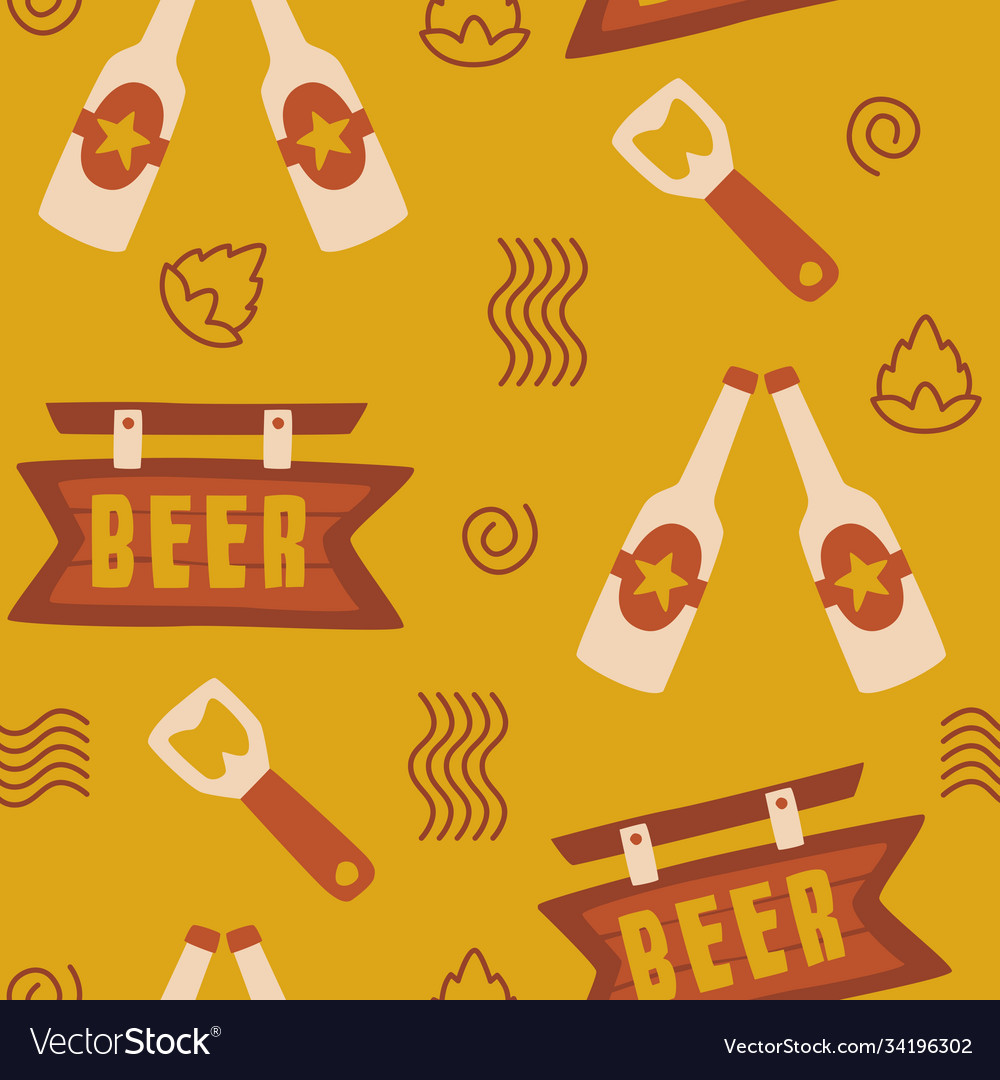Beer seamless pattern background logo icon