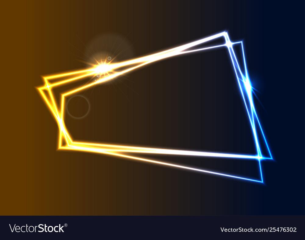 Blue and orange neon geometric frame background