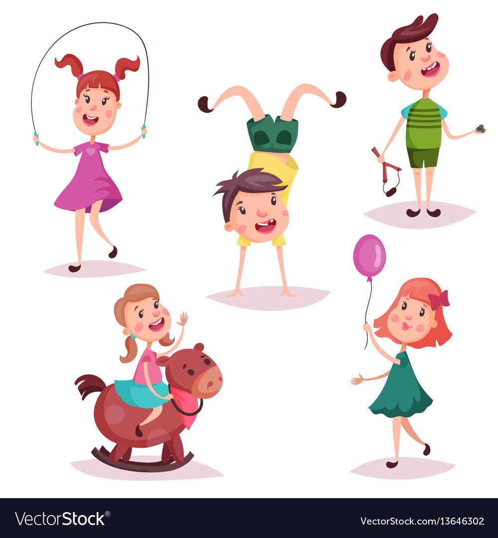 Cartoon girl and boy baby and preschool kids
