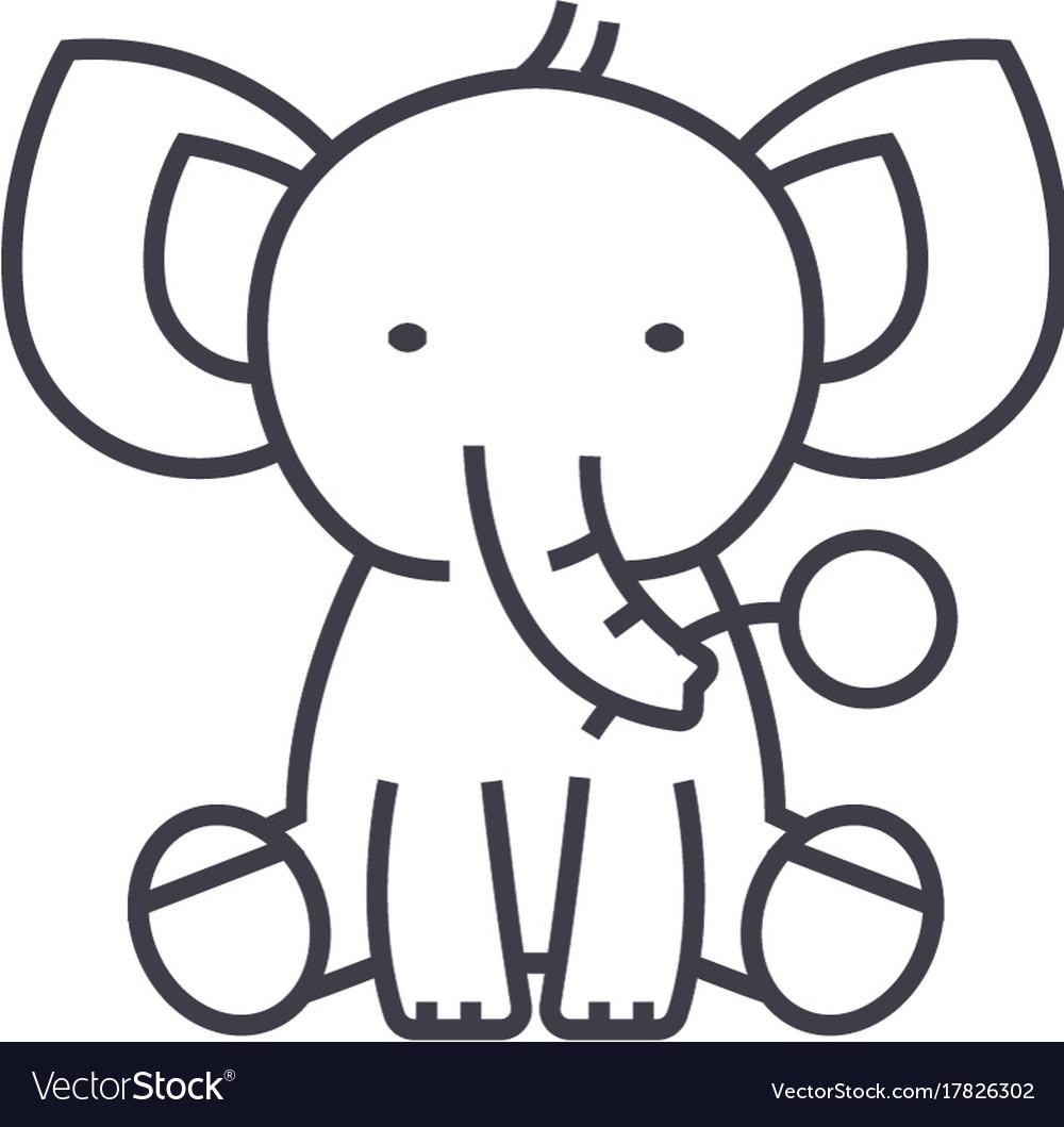 Cute elephant line icon sign