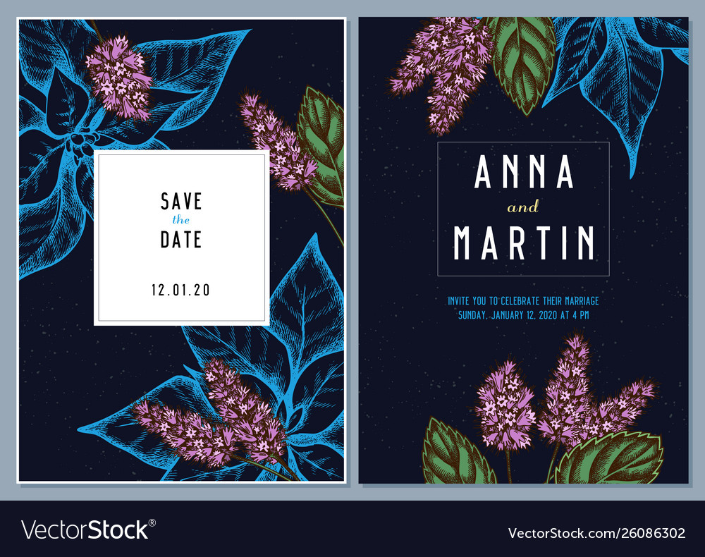 Dark wedding invitation card with colored