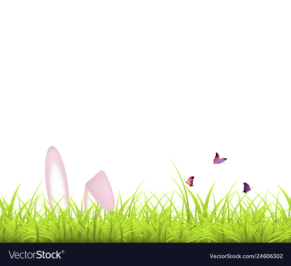 Easter background green grass and easter egg and
