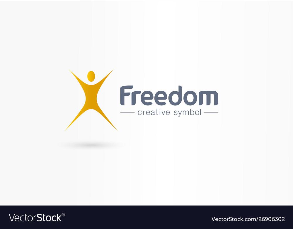 Freedom Jump Man Flight Creative Symbol Concept