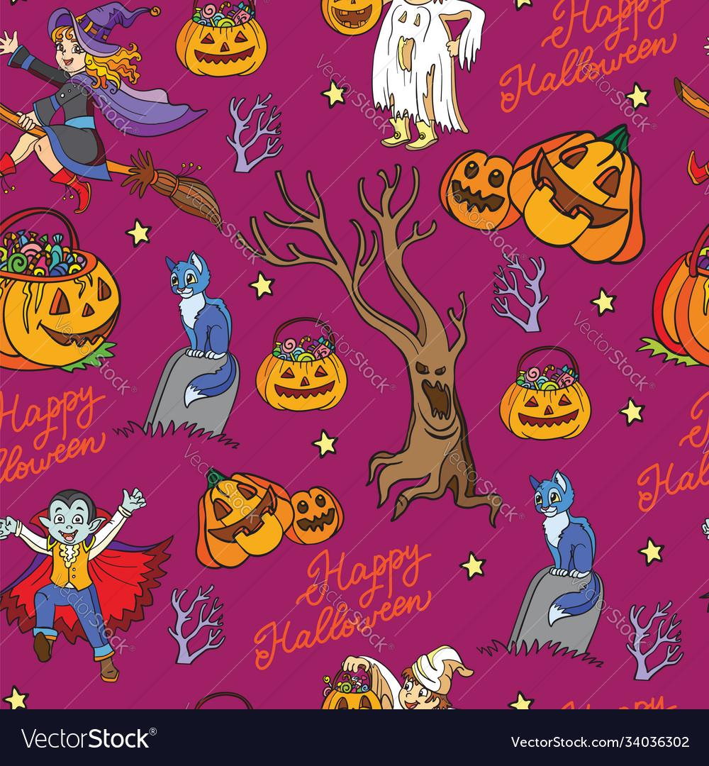 Halloween seamless pattern with pumpkins vampire