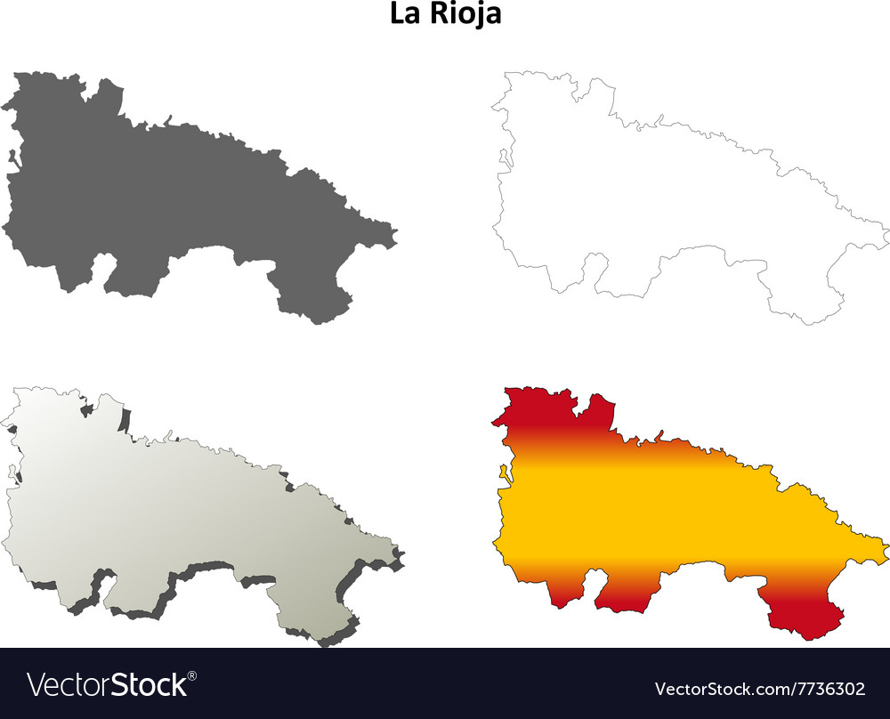 La Rioja blank outline map set