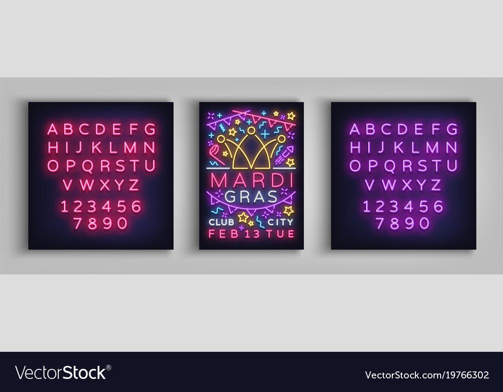 Mardi Gras Invitation Template Design Neon Style