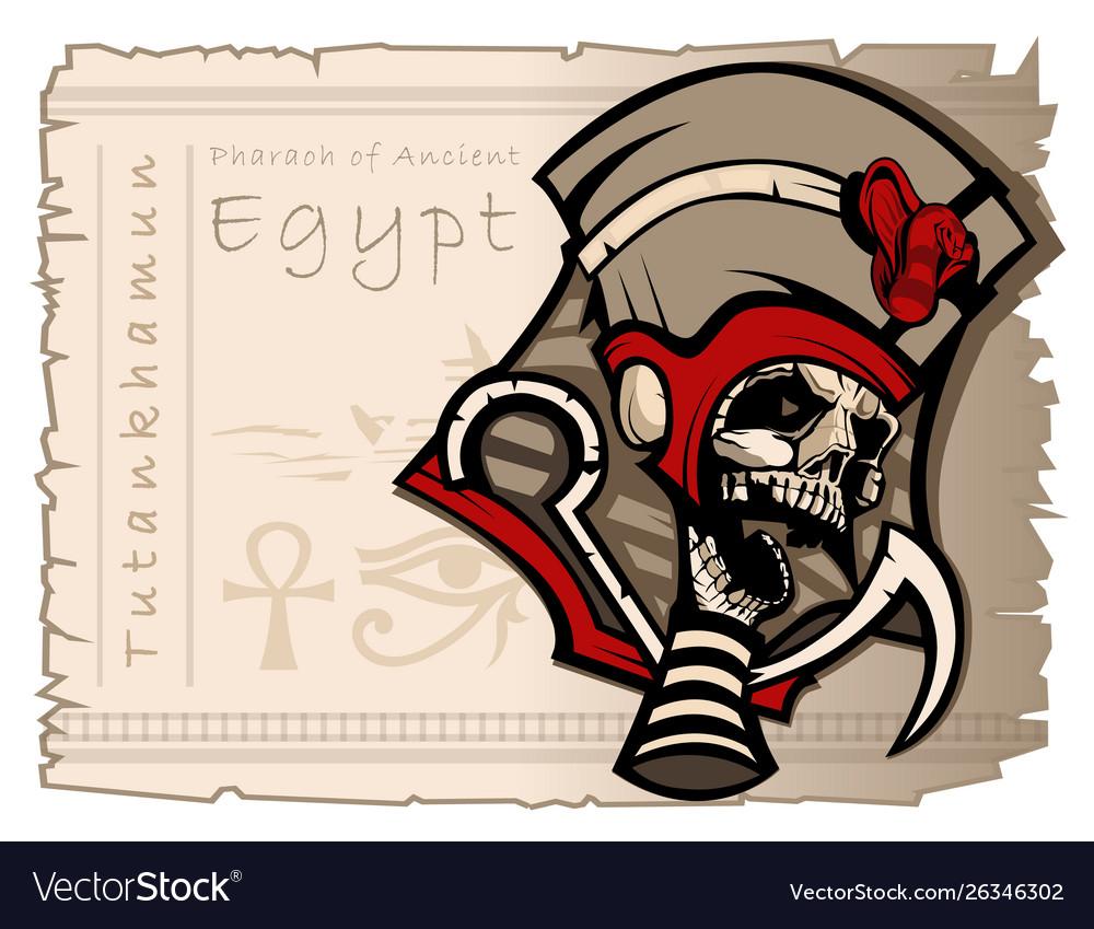 Mummified skull in clothes pharaoh