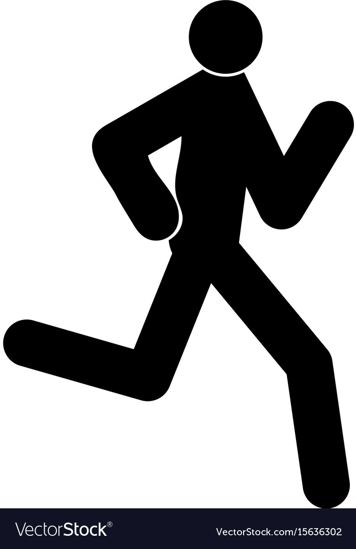 Running man - stick the black color icon vector image