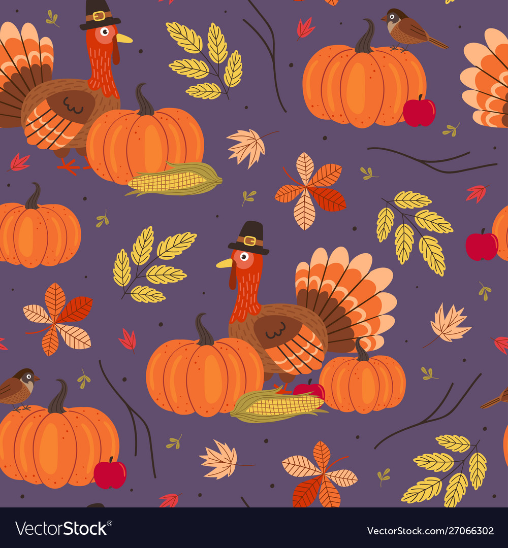 Seamless pattern with thanksgiving day elements
