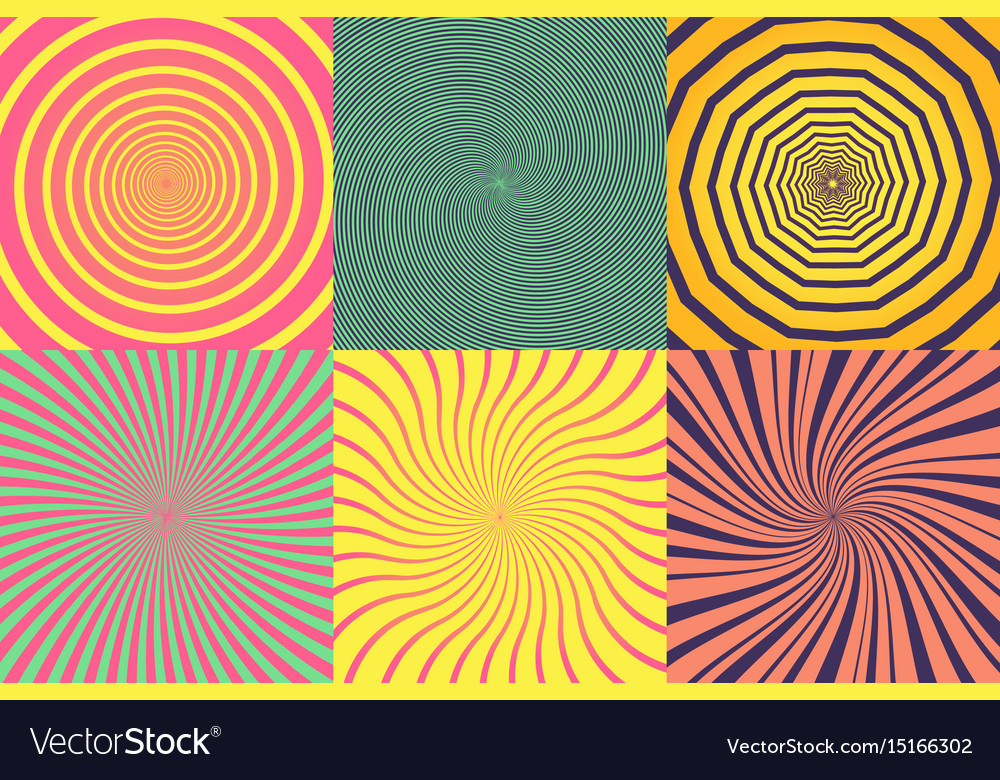 Set of different psychedelic spiral vortex twirl