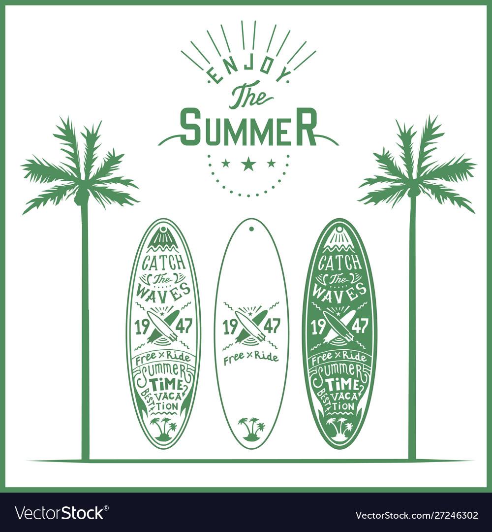 Surf board poster lettering logo hand