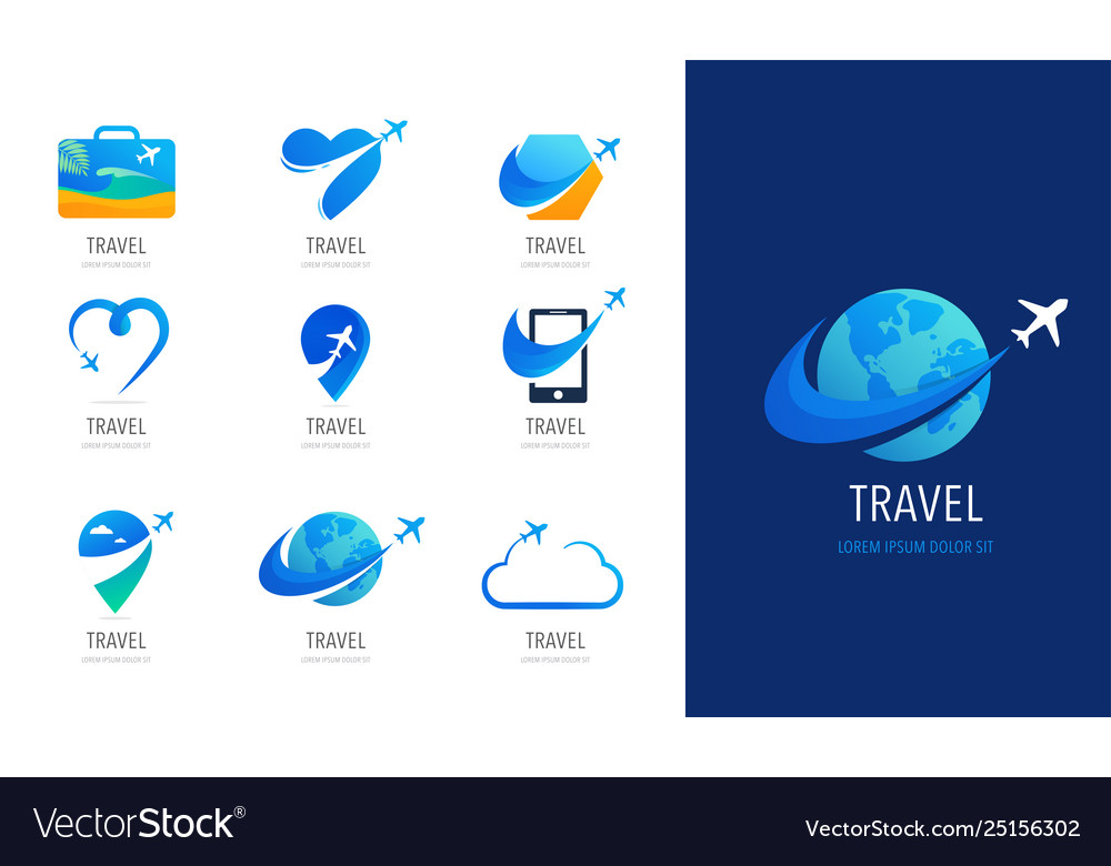Travel tourism agency logo design icons and