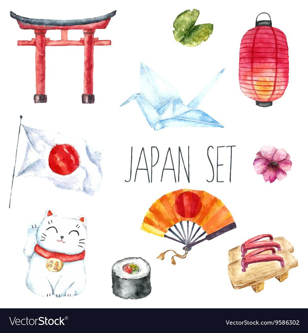 Watercolor set of Japan