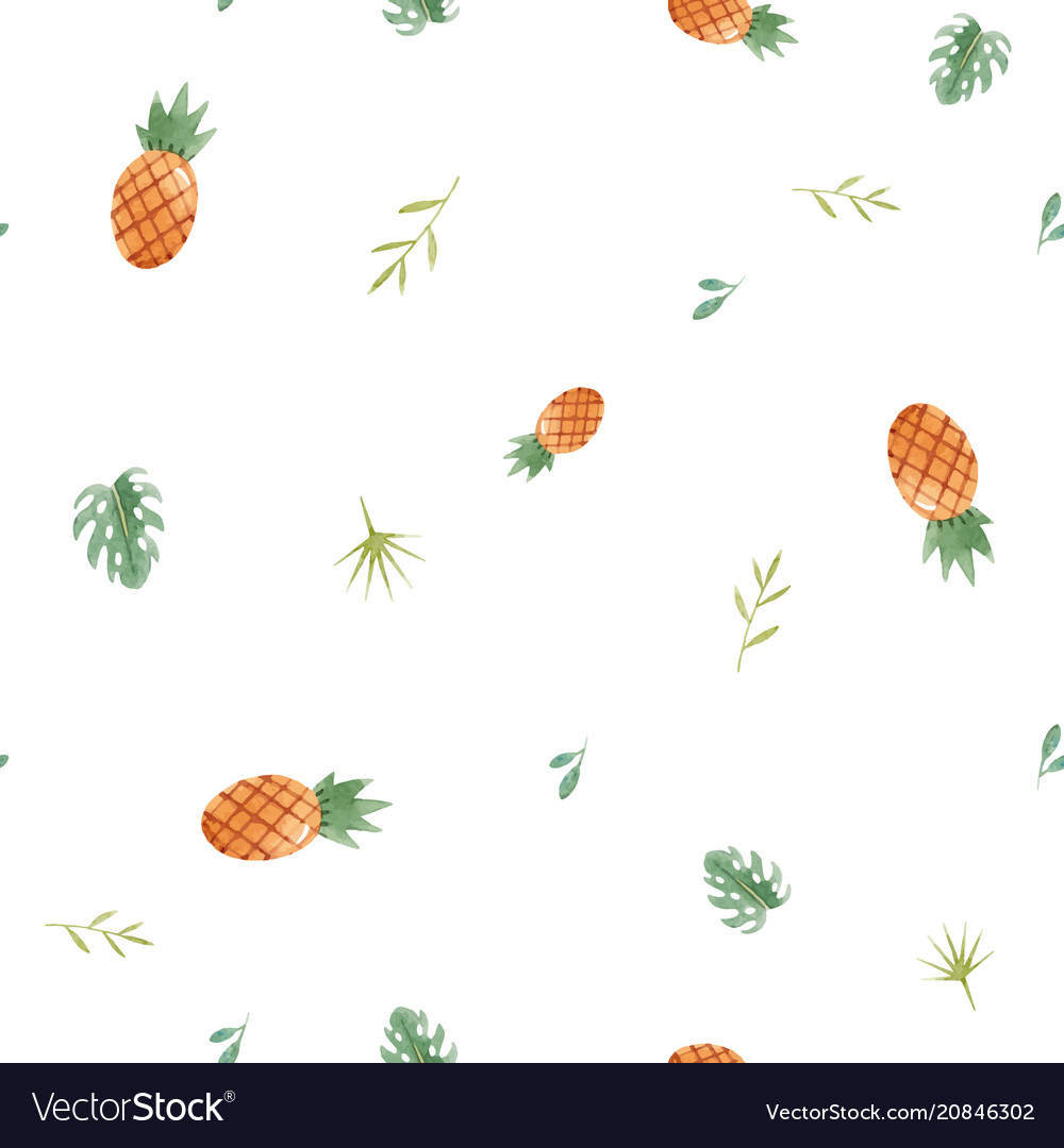 Watercolor tropical pineapple pattern