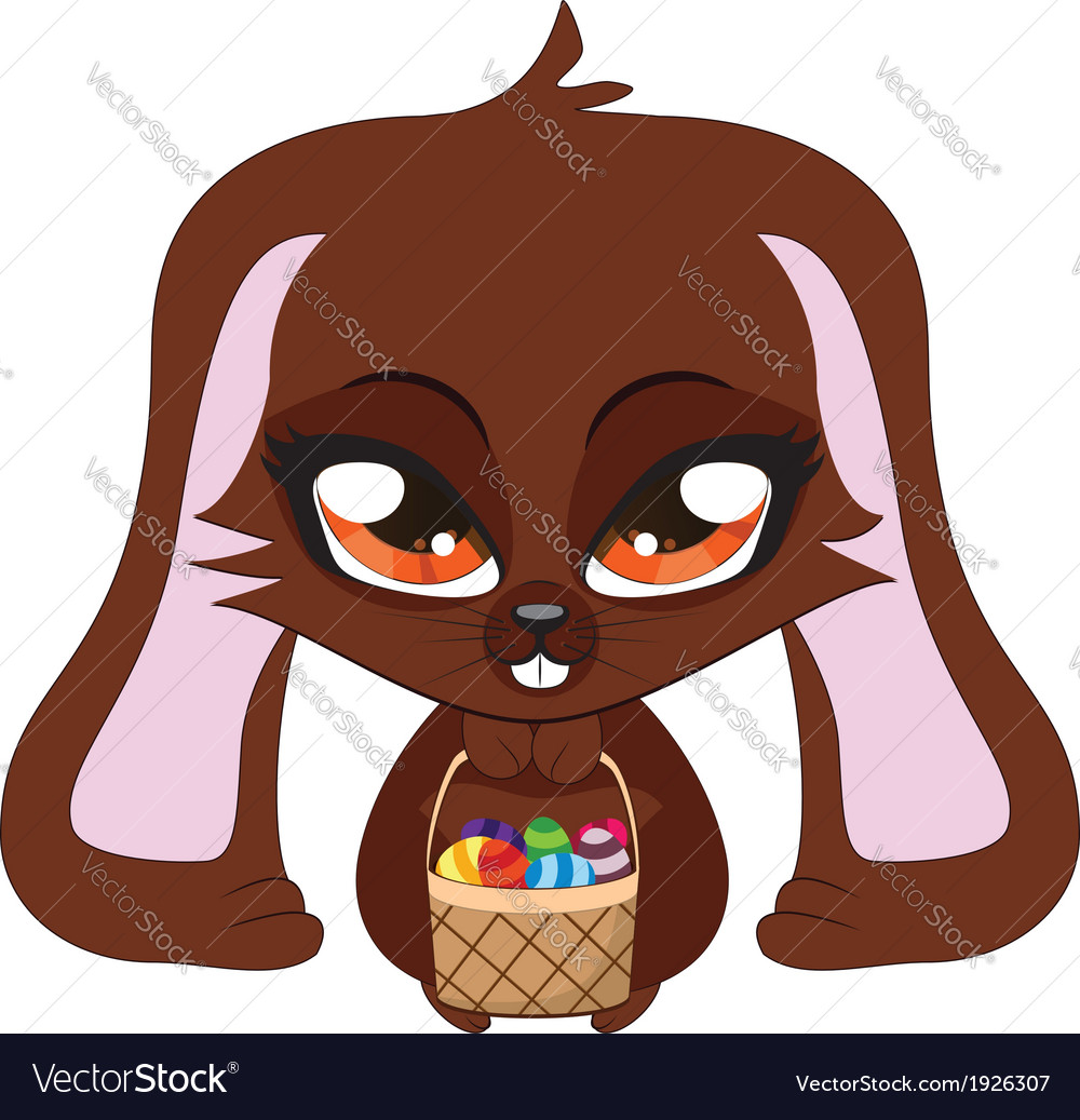 Brown bunny with Easter eggs vector image
