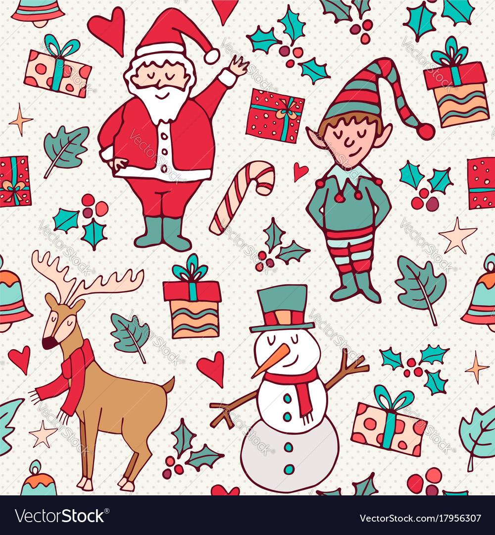 Cute christmas winter santa doodle background