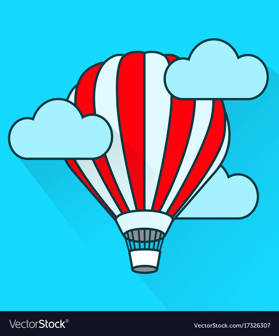 Flat air balloon in flight simple style