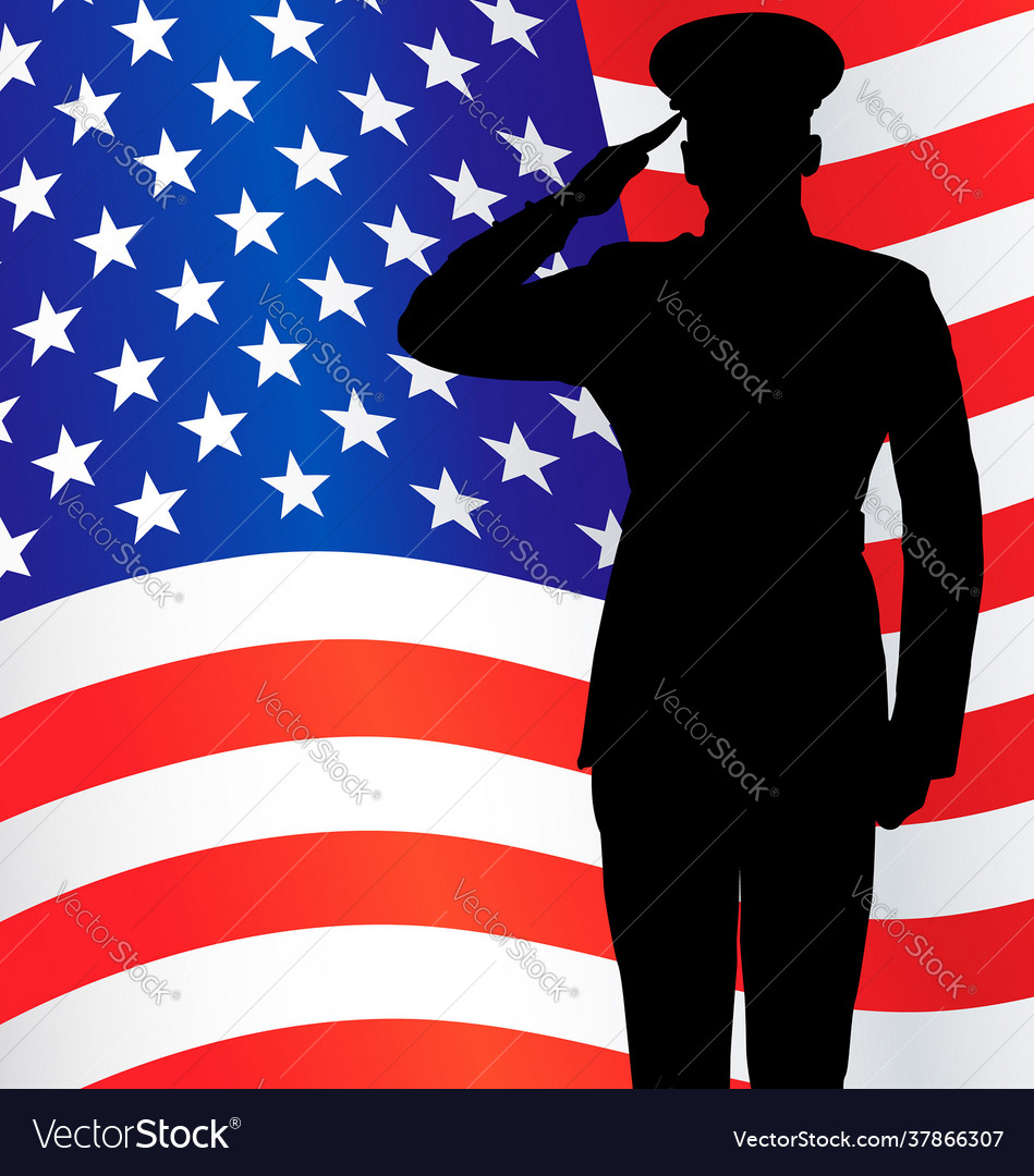 Military or police salute silhouette with usa flag