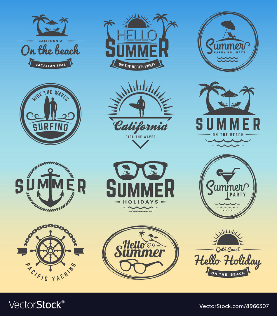 Modern retro insignia for summer holidays vector image