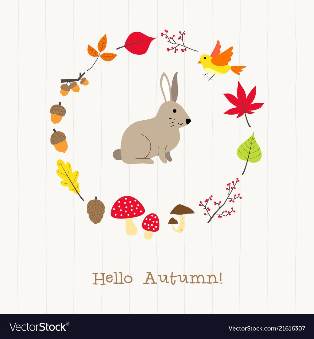 Rabbit with autumn frame card