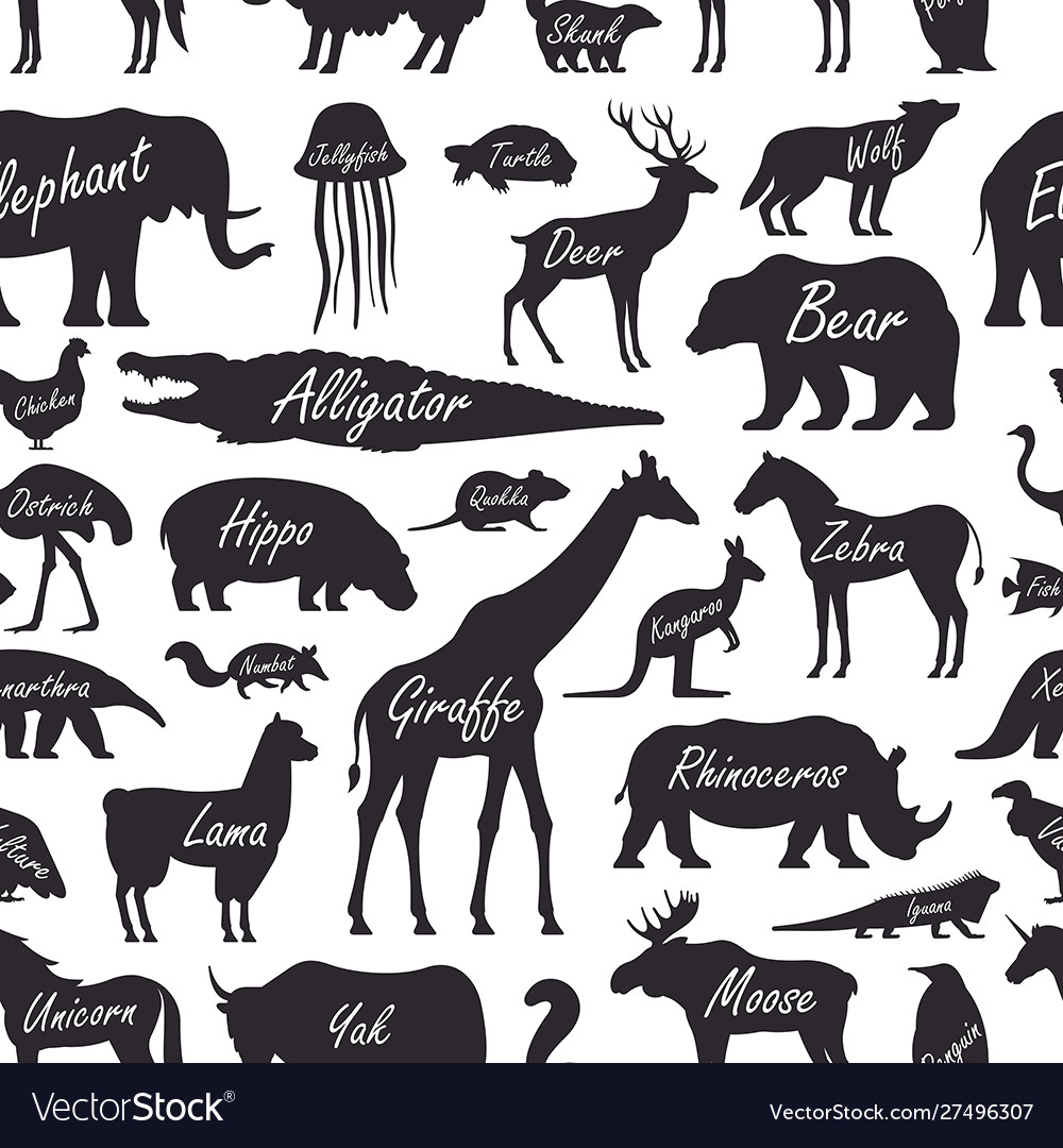 Seamless pattern with animal zoo