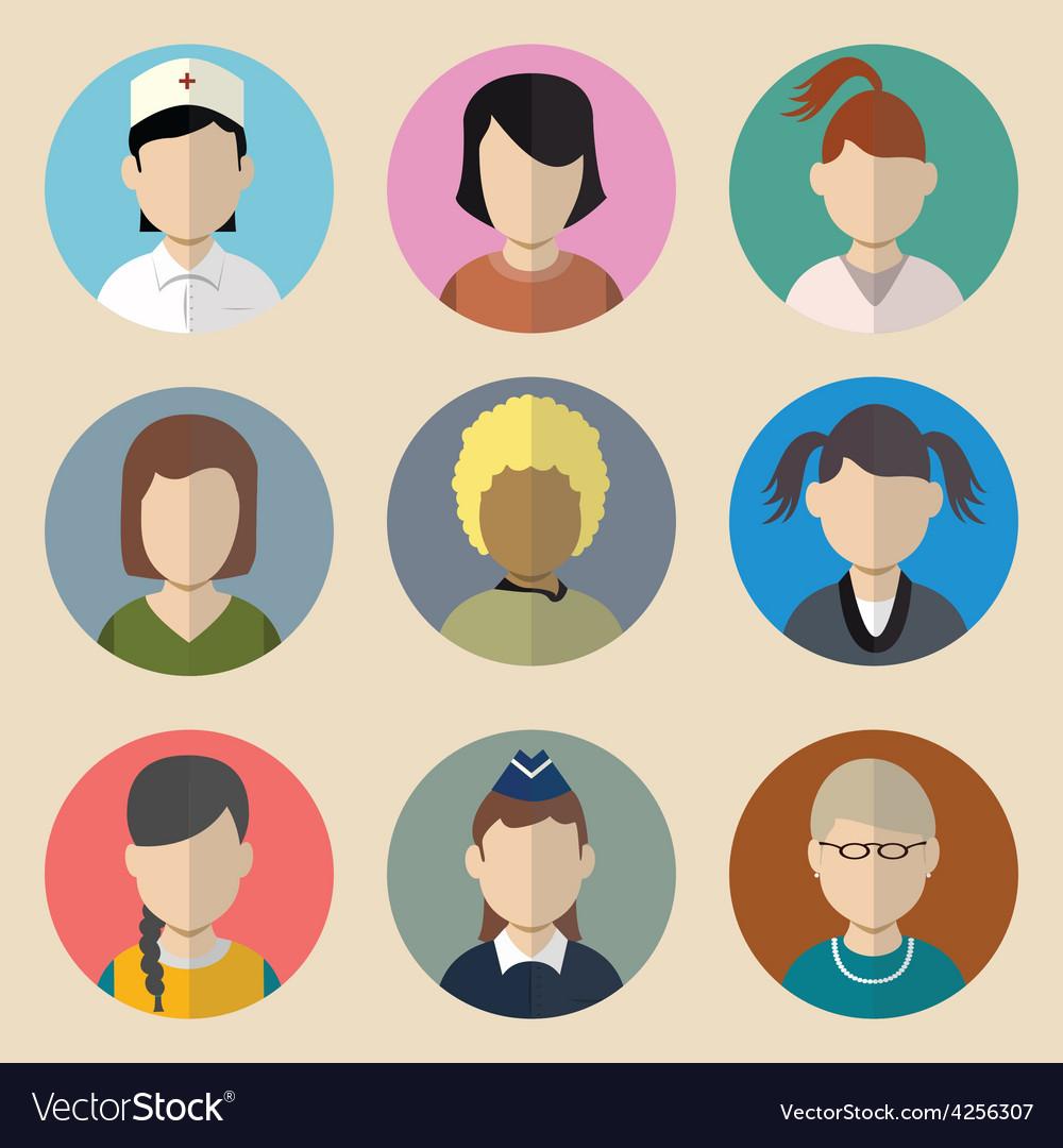 Set of avatars woman