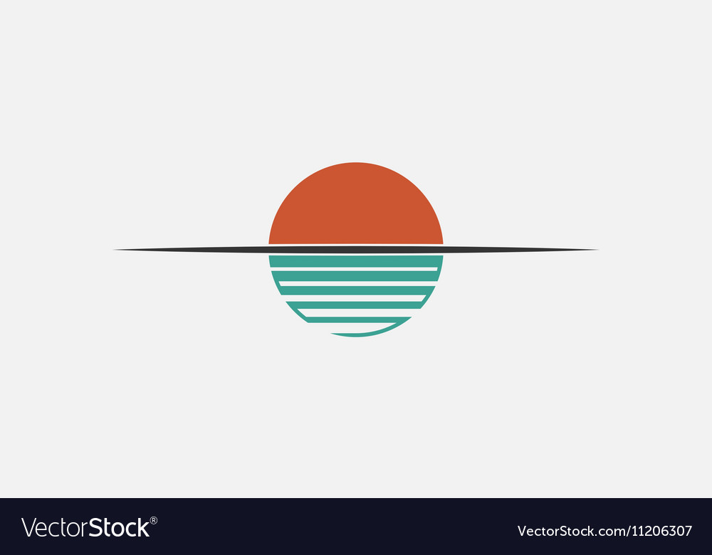 Sunet logo Sun over the water Minimalistic logo vector image
