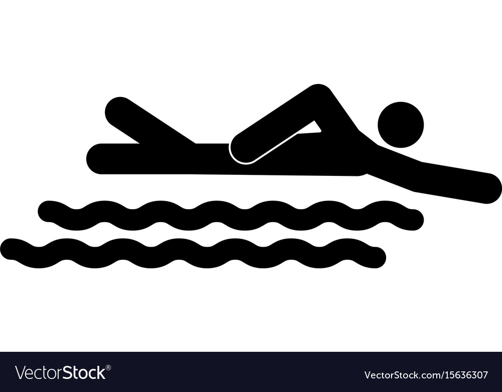 Swimming person stick the black color icon