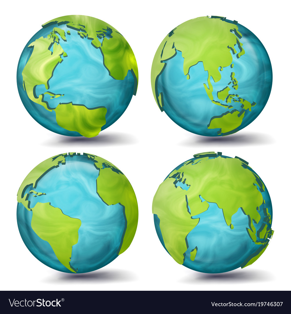 World map 3d planet set earth with royalty free vector image world map 3d planet set earth with vector image gumiabroncs Image collections